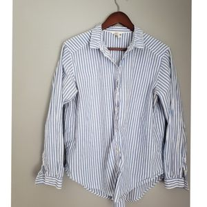 Womens blue and white stripe blouse